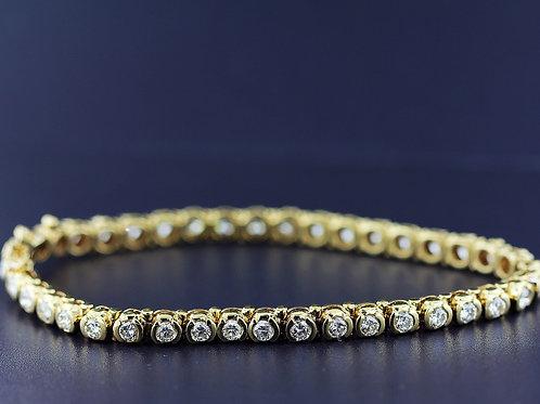 3 Carat Bezel Set Round Diamond Tennis Bracelet