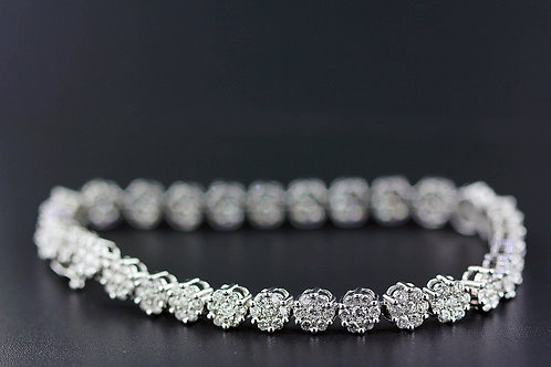 3 Carat Flower Prong Set Diamond Tennis Bracelet