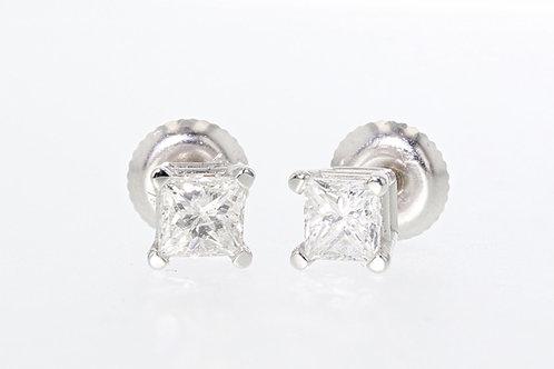1 Carat Princess Cut Diamond Studs
