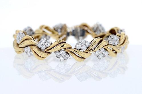 7 Carat Cluster Diamond Accented Woven Bracelet