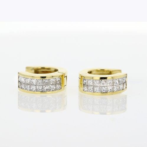 1 Carat Double Row Princess Cut Diamond Huggies