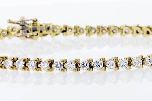 2 Carat Shared Three Prong Diamond Tennis Bracelet