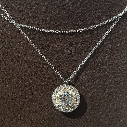 1 Carat Double Halo Round Diamond Pendant