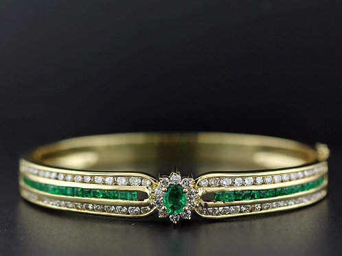 5 Carat Diamond & Emerald Bangle