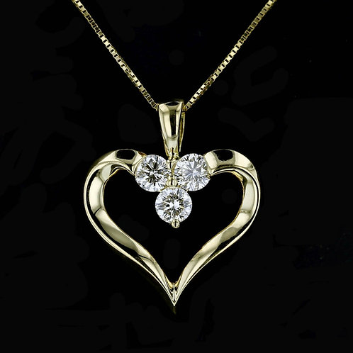 0.60 Carat Three Round Cut Diamond Heart Pendant