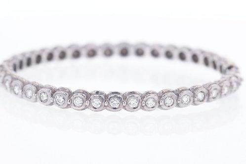 1 Carat Round Cut Bezel Set Diamond Bangle