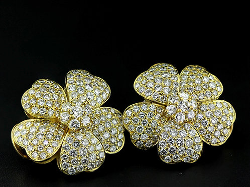 10 Carat Flower Petal Diamond Earrings