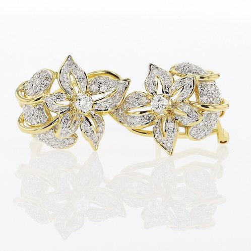 1 Carat Flower Mum Diamond Earrings