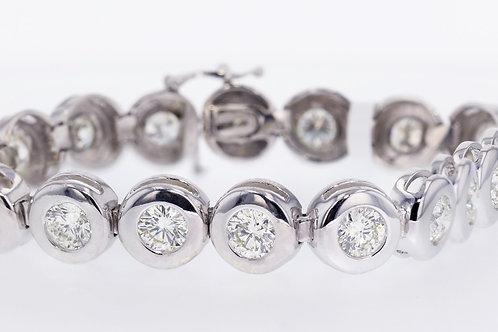 10 Carat Large Bezel Set Diamond Tennis Bracelet