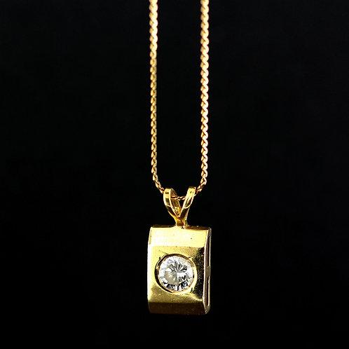 0.35 Carat Bright Cut Set Diamond Pendant