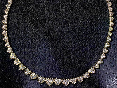 14 Carat Heart Shaped Diamond Riviera Necklace