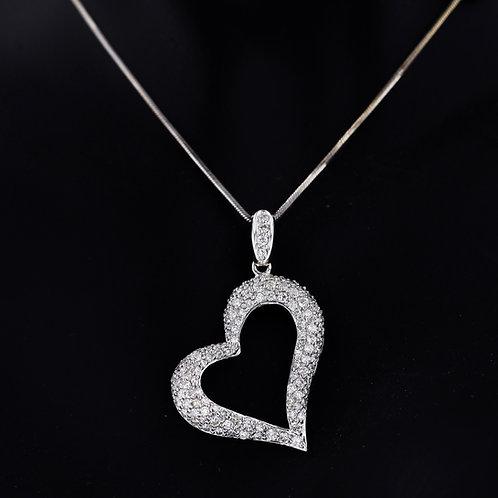 1 Carat Offset Heart Shaped Diamond Pendant