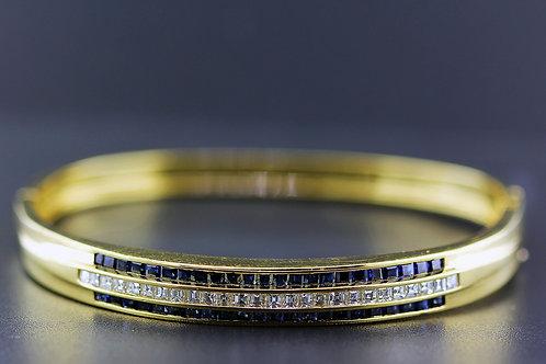 3 Carat Triple Row Diamond & Sapphire Bangle