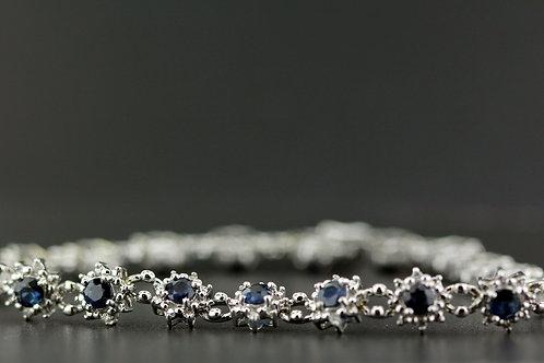 4 Carat Sapphire & Diamond Flower Tennis Bracelet