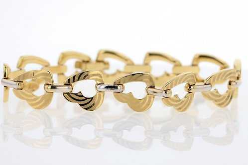 18k Gold Swirl Print Heart Chain Bracelet