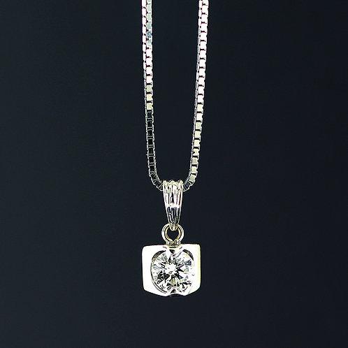 0.55 Carat Square Bezel Set Diamond Pendant