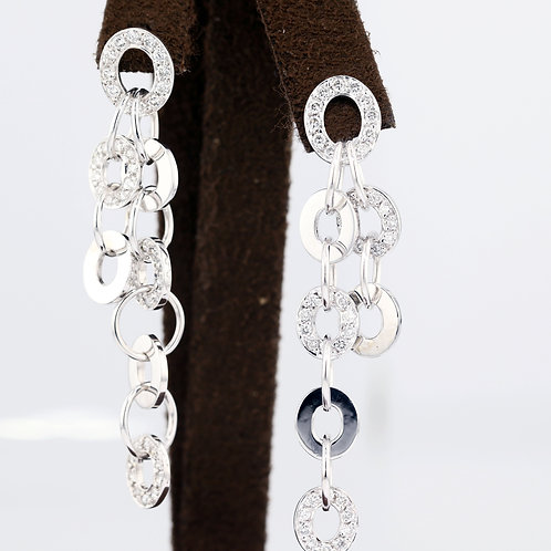 1 Carat Circle Looped Dangle Diamond Earrings