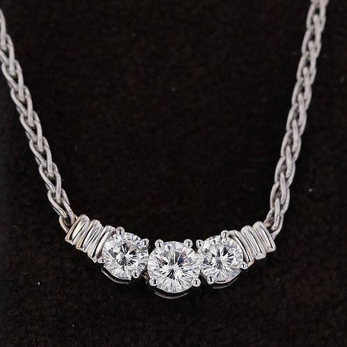 0.72 Carat Three Stone Diamond Chain Necklace