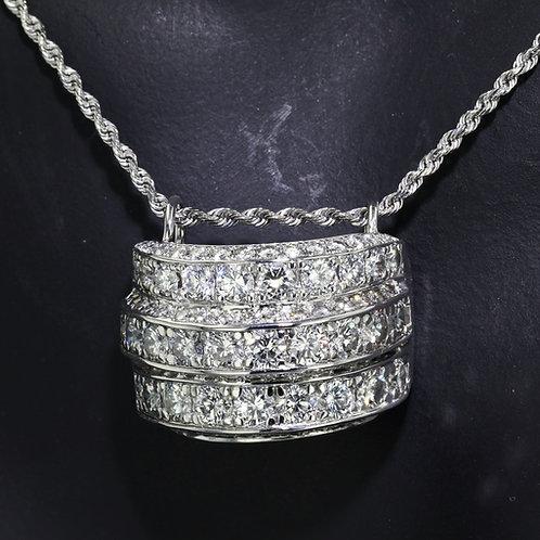 5 Carat Triple Row Round Cut Diamond Pendant