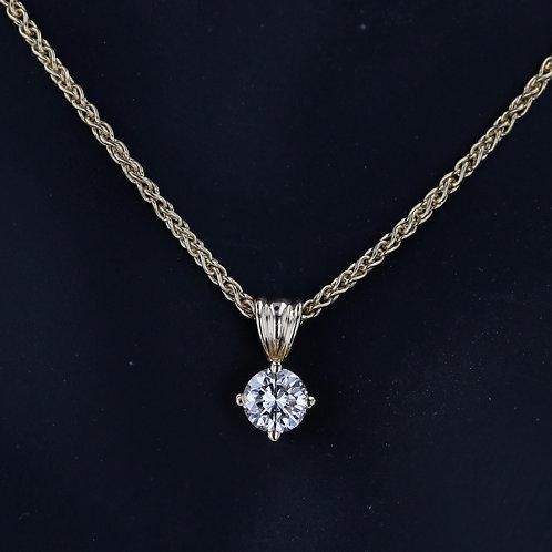 0.73 Carat Simple Prong Set Diamond Pendant