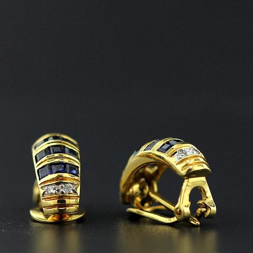 1 Carat Diamond & Sapphire Gold Huggies