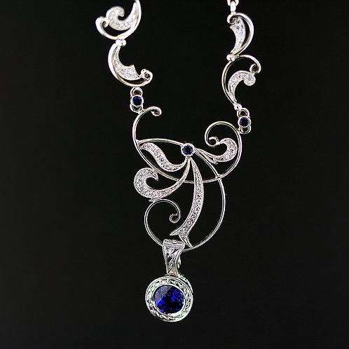 1 Carat Sapphire & Diamond Vintage Necklace