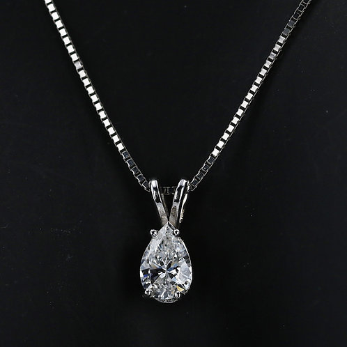 0.75 Carat Pear Cut Diamond Drop Pendant