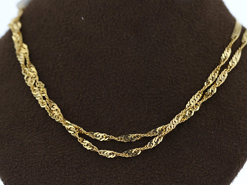 21k Yellow Gold Four Fold Link Chain
