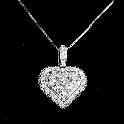 1 Carat Princess Cut Diamond Heart Pendant