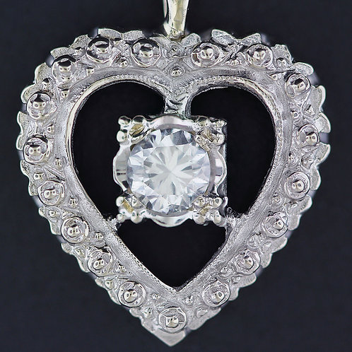 0.34 Carat Vintage Heart Diamond Pendant