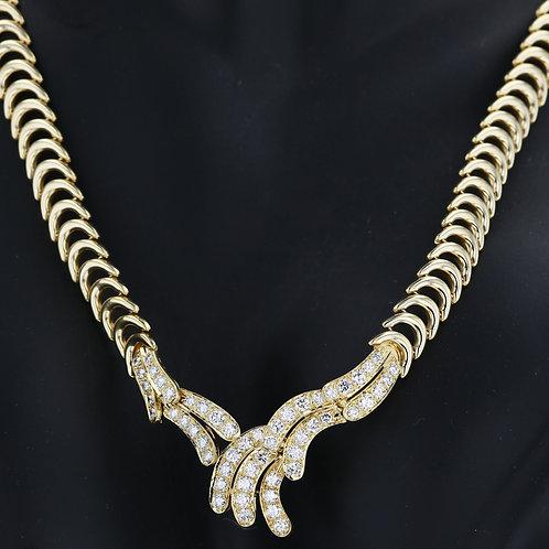 2 Carat Yellow Gold Overlay Diamond Necklace