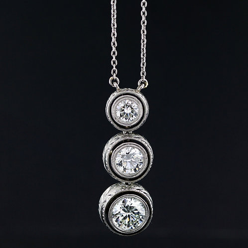 2 Carat Three Stone Bezel Set Diamond Pendant