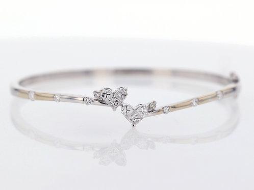 1 Carat Twin Heart Cluster Diamond Bangle