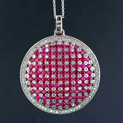 3 Carat Pink Sapphire & Diamond Circle Pendant