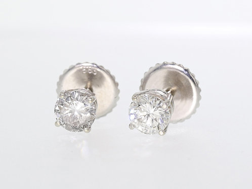1 Carat Round Cut Diamond Studs