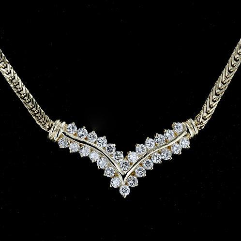 1 Carat V Slant Diamond Necklace