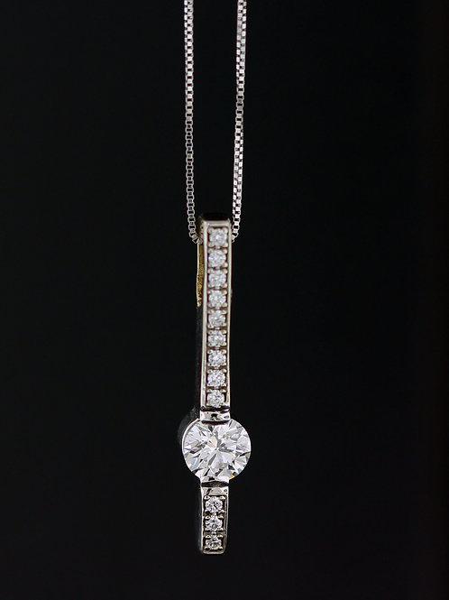0.77 Carat Diamond Accented Drop Line Pendant