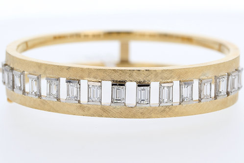 3 Carat Yellow Gold Emerald Cut Diamond Bangle