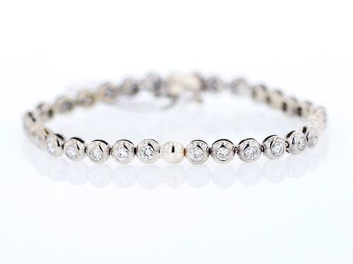 2 Carat Dome Bezel Set Diamond Tennis Bracelet
