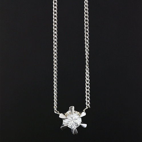 0.41 Carat Round Cut Six Prong Diamond Pendant