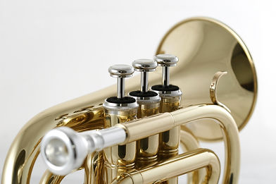gold lacquer pocket trumpet with mouthpi