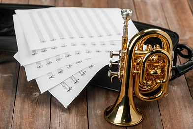 Pocket trumpet, sheet music and case on