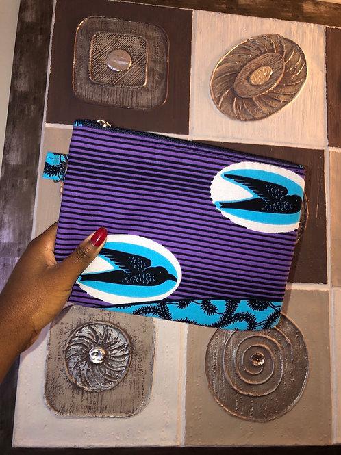 Maxi pochette en wax «HIRONDELLES D'ESPOIR»