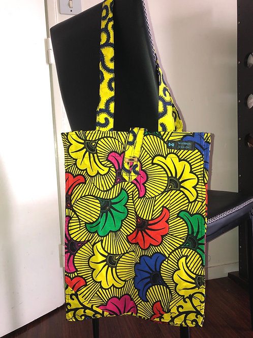 Tote bag en wax « YELLOW FLOWERS »