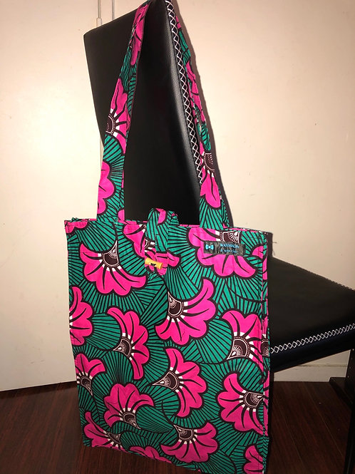 Tote bag en wax «  FUSHIA »