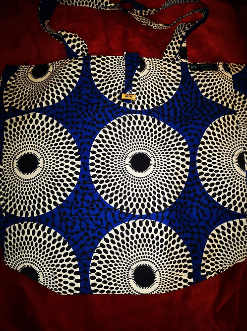 Maxi Tote bag  en wax « BLUE DISK »