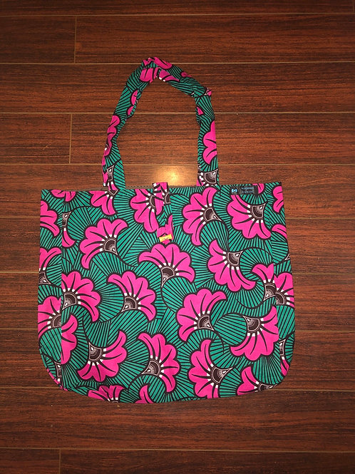 Maxi Tote bag en wax « FUSHIA »