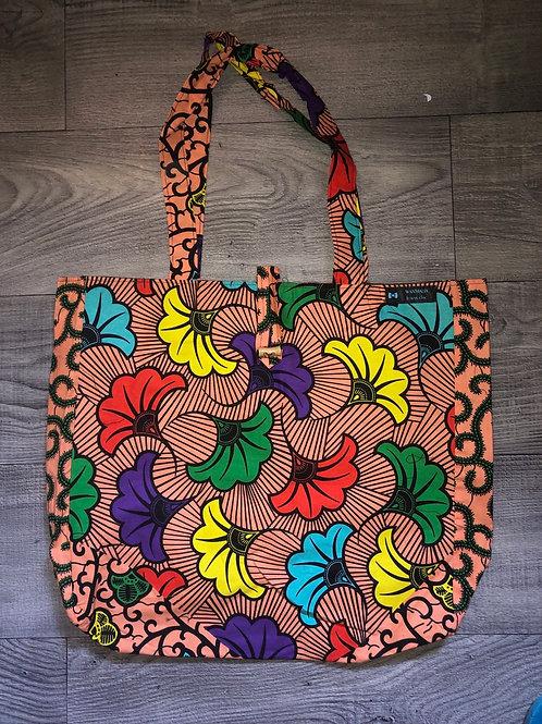 Maxi Tote bag en wax « PINK FLOWERS »