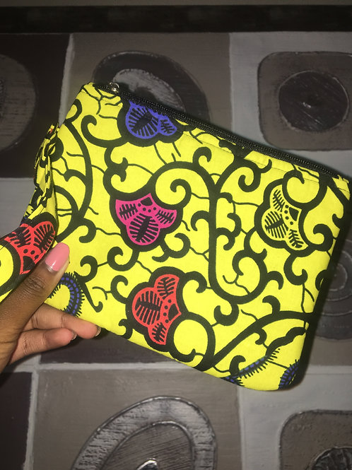 Pochette en wax « YELLOW FLOWERS »
