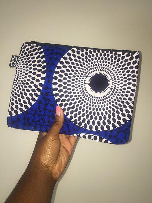 Maxi pochette en wax «BLUE DISK»